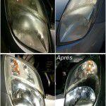 Rénovation/Restauration des optiques de voiture résultat avant après